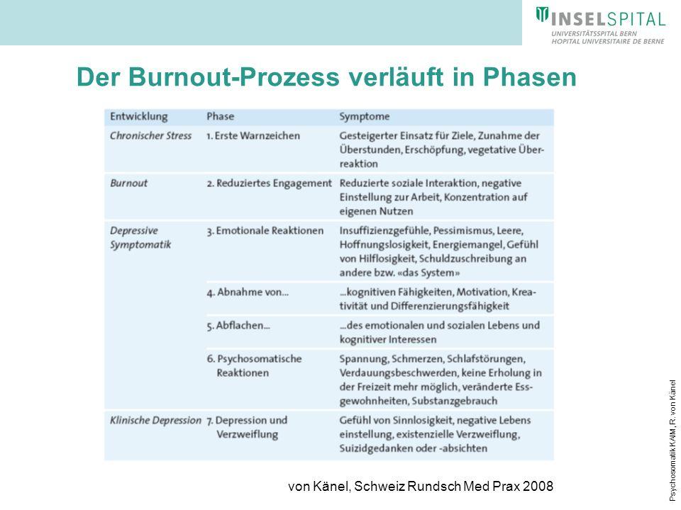 Psychosomatik KAIM, R. von Känel Der Burnout-Prozess verläuft in Phasen von Känel, Schweiz Rundsch Med Prax 2008