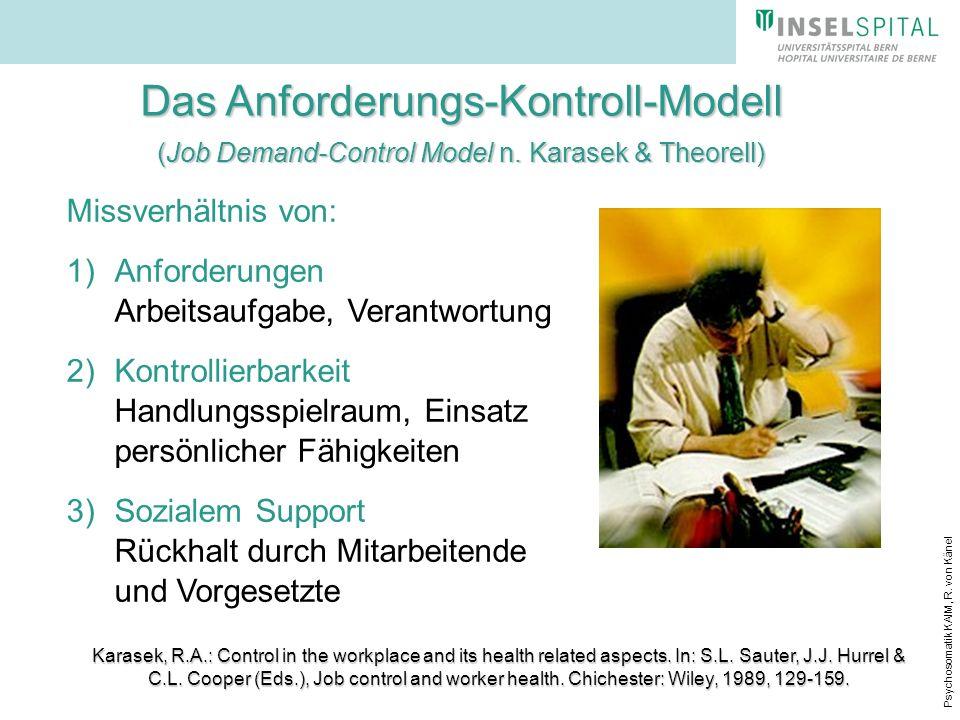 Psychosomatik KAIM, R. von Känel Das Anforderungs-Kontroll-Modell (Job Demand-Control Model n. Karasek & Theorell) Missverhältnis von: 1)Anforderungen