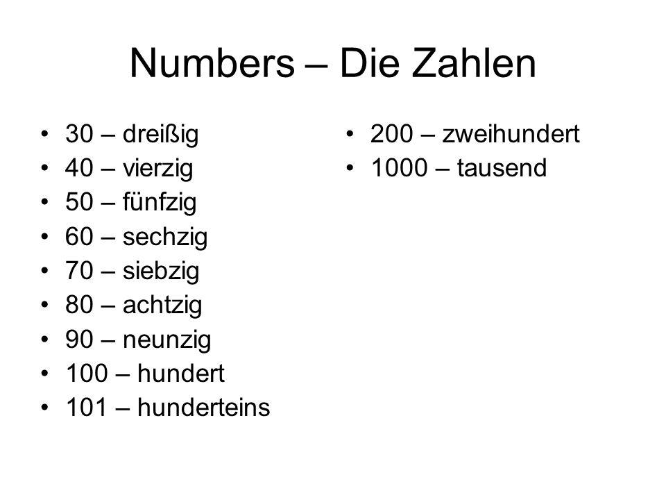 Numbers – Die Zahlen Wie sagt man (how do you say): 1823