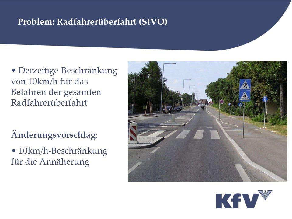 Problem: Radfahrerüberfahrt (StVO) Derzeitige Beschränkung von 10km/h für das Befahren der gesamten Radfahrerüberfahrt Änderungsvorschlag: 10km/h-Besc