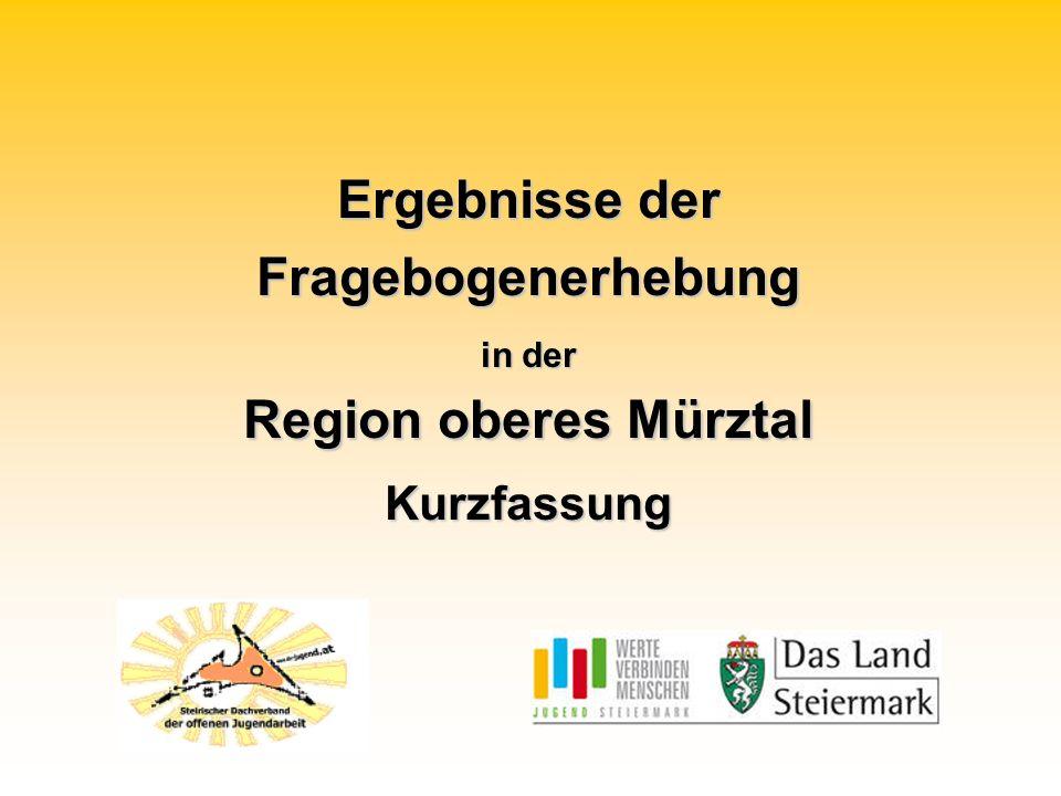 Ergebnisse der Fragebogenerhebung in der Region oberes Mürztal Kurzfassung