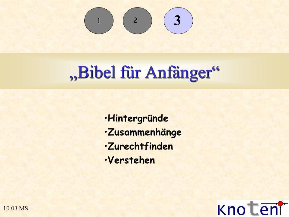 Bibel für Anfänger Hintergründe Zusammenhänge Zurechtfinden Verstehen 10.03 MS 1 2 3