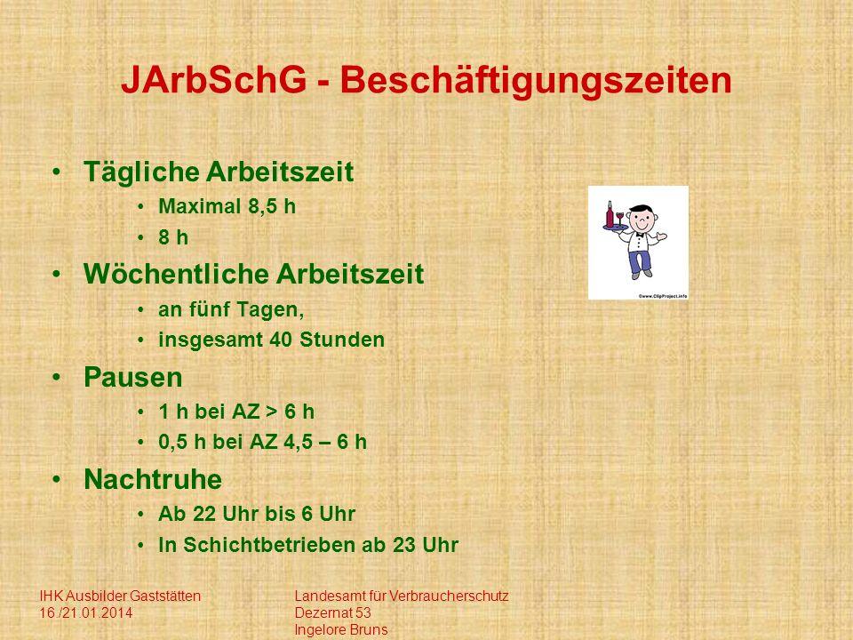 IHK Ausbilder Gaststätten 16./21.01.2014 Landesamt für Verbraucherschutz Dezernat 53 Ingelore Bruns JArbSchG - Beschäftigungszeiten Tägliche Arbeitsze