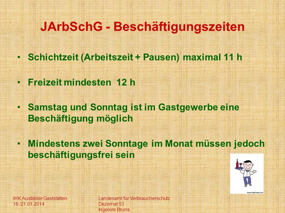 IHK Ausbilder Gaststätten 16./21.01.2014 Landesamt für Verbraucherschutz Dezernat 53 Ingelore Bruns JArbSchG - Beschäftigungszeiten Schichtzeit (Arbei
