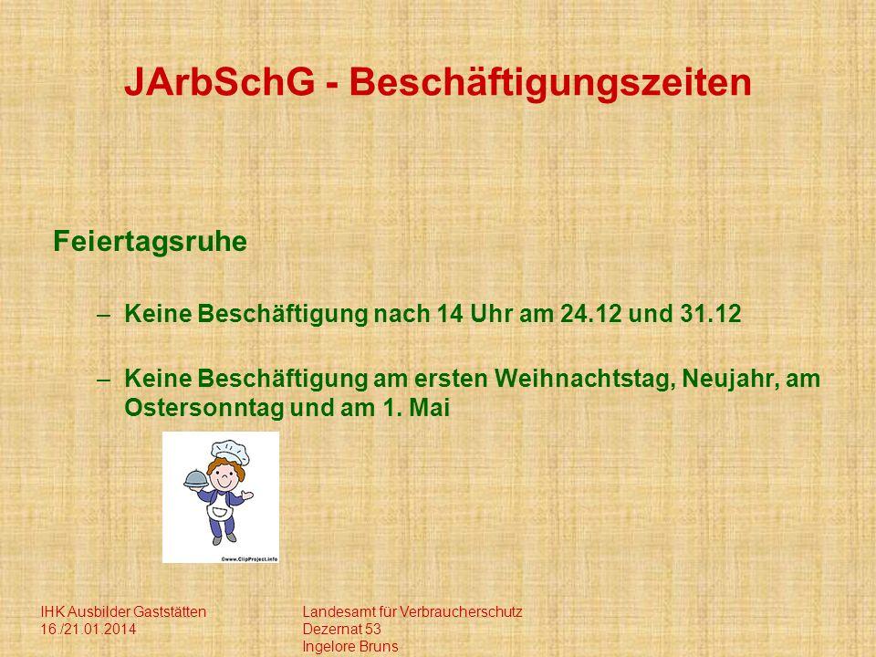 IHK Ausbilder Gaststätten 16./21.01.2014 Landesamt für Verbraucherschutz Dezernat 53 Ingelore Bruns JArbSchG - Beschäftigungszeiten Feiertagsruhe –Kei