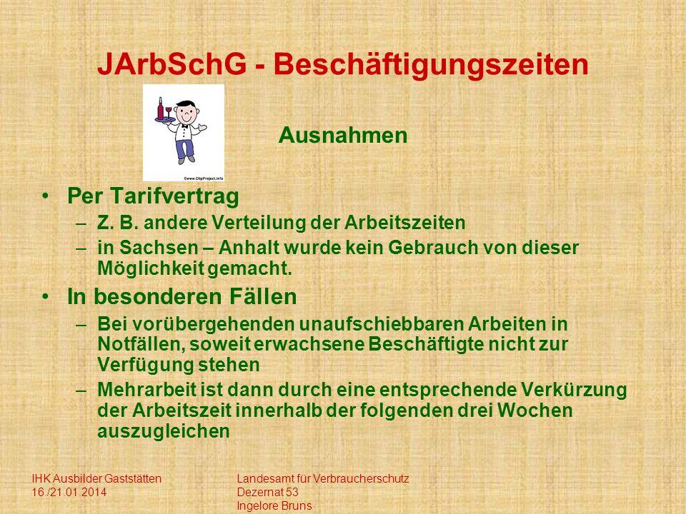 IHK Ausbilder Gaststätten 16./21.01.2014 Landesamt für Verbraucherschutz Dezernat 53 Ingelore Bruns JArbSchG - Beschäftigungszeiten Ausnahmen Per Tari
