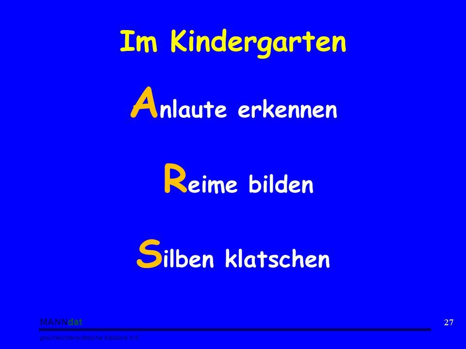 MANNdat geschlechterpolitische Initiative e.V. 27 Im Kindergarten A nlaute erkennen R eime bilden S ilben klatschen