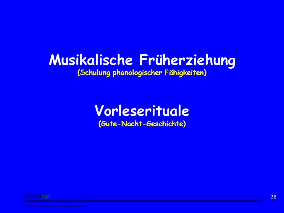 MANNdat geschlechterpolitische Initiative e.V. 28 Musikalische Früherziehung (Schulung phonologischer Fähigkeiten) Vorleserituale (Gute-Nacht-Geschich