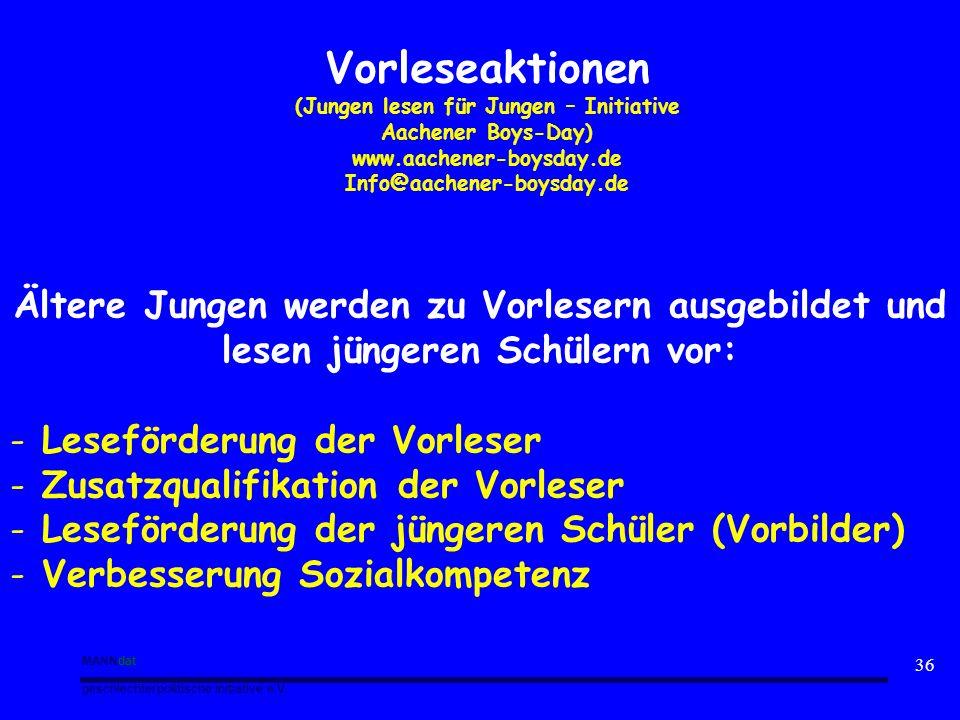 MANNdat geschlechterpolitische Initiative e.V. 36 Vorleseaktionen (Jungen lesen für Jungen – Initiative Aachener Boys-Day) www.aachener-boysday.de Inf