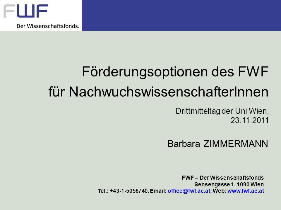 Förderungsoptionen des FWF für NachwuchswissenschafterInnen Drittmitteltag der Uni Wien, 23.11.2011 FWF – Der Wissenschaftsfonds Sensengasse 1, 1090 W