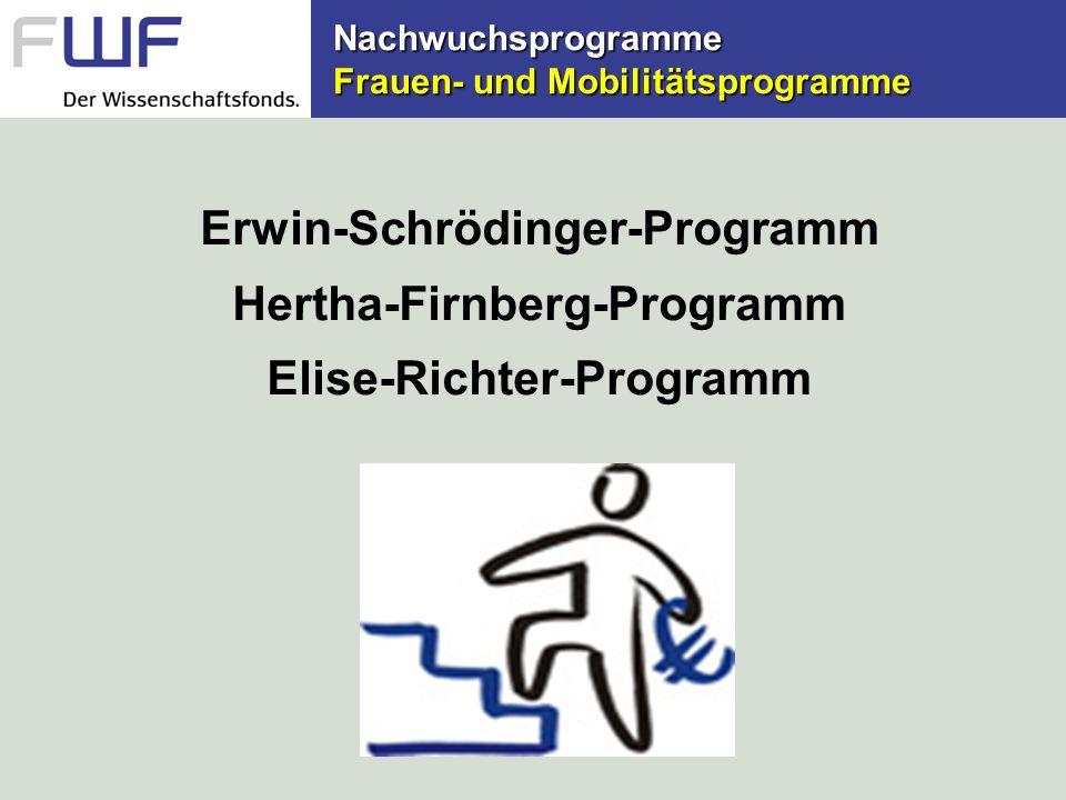 Erwin-Schrödinger-Programm Ziele (1)für junge gut qualifizierte Postdocs aller Fachdisziplinen (keine Altersgrenze!) (2)Mitarbeit an einer international Forschungsstätte und damit Auslandserfahrung in der Postdoc-Phase (3)neue wissenschaftliche Ansätze für die österreichische Wissenschaft eröffnen