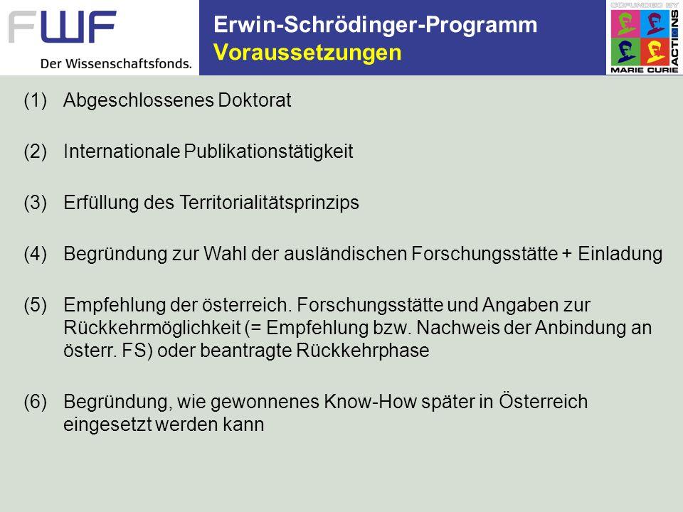 Erwin-Schrödinger-Programm Voraussetzungen (1)Abgeschlossenes Doktorat (2)Internationale Publikationstätigkeit (3)Erfüllung des Territorialitätsprinzi