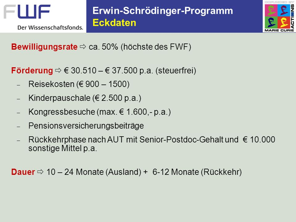 Erwin-Schrödinger-Programm Eckdaten Bewilligungsrate ca. 50% (höchste des FWF) Förderung 30.510 – 37.500 p.a. (steuerfrei) Reisekosten ( 900 – 1500) K