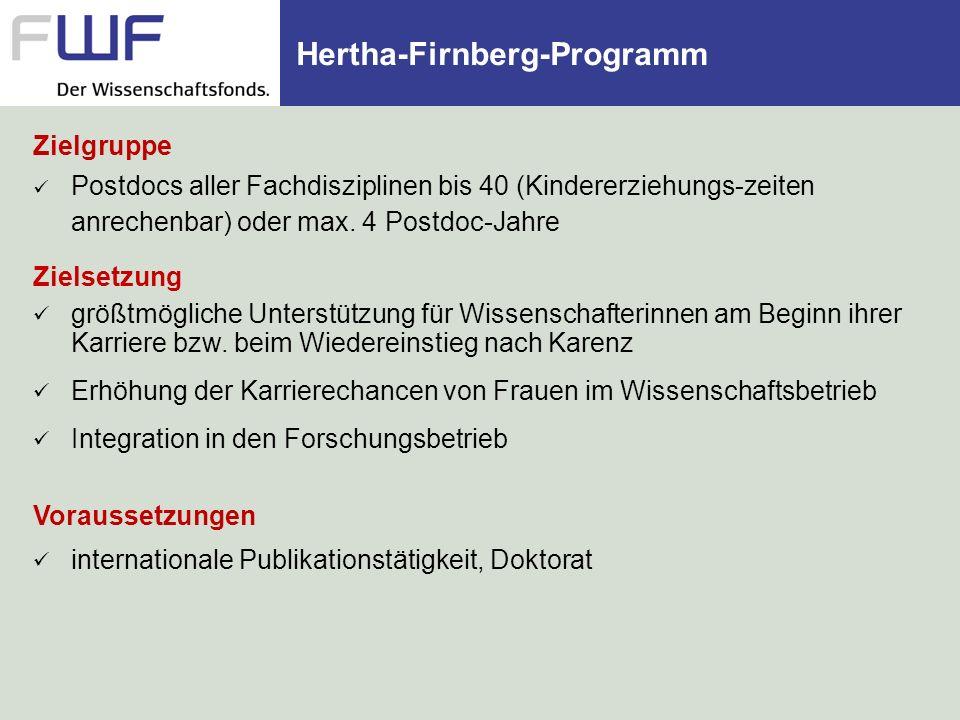 Hertha-Firnberg-Programm Eckdaten Ausschreibung jeweils Frühjahr/Herbst, Vergabe November/Juni Bewilligungsquote: ca.