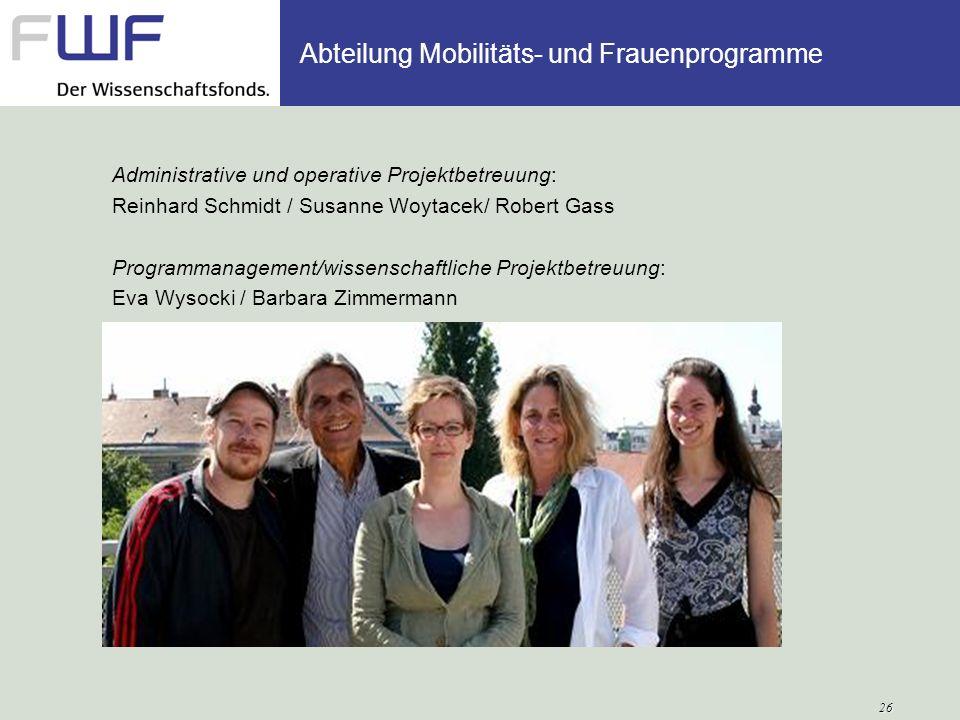 Administrative und operative Projektbetreuung: Reinhard Schmidt / Susanne Woytacek/ Robert Gass Programmanagement/wissenschaftliche Projektbetreuung: