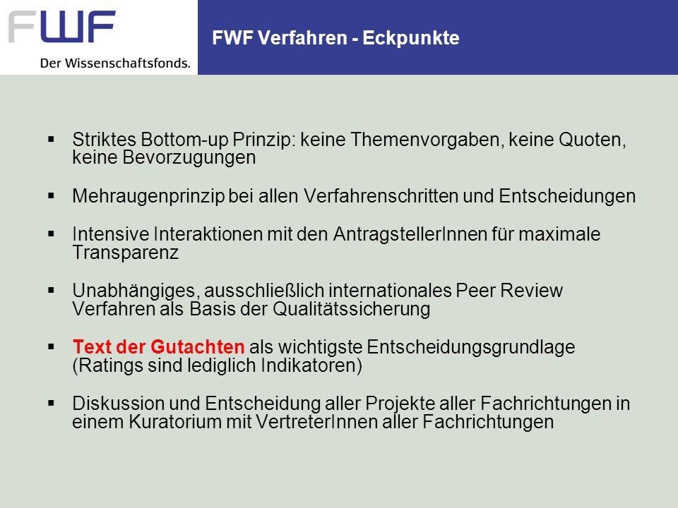 FWF Verfahren - Eckpunkte Striktes Bottom-up Prinzip: keine Themenvorgaben, keine Quoten, keine Bevorzugungen Mehraugenprinzip bei allen Verfahrenschr