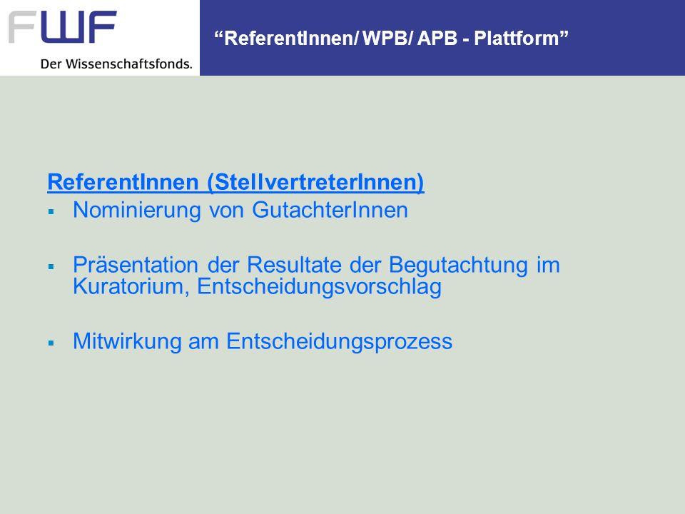 ReferentInnen/ WPB/ APB - Plattform ReferentInnen (StellvertreterInnen) Nominierung von GutachterInnen Präsentation der Resultate der Begutachtung im
