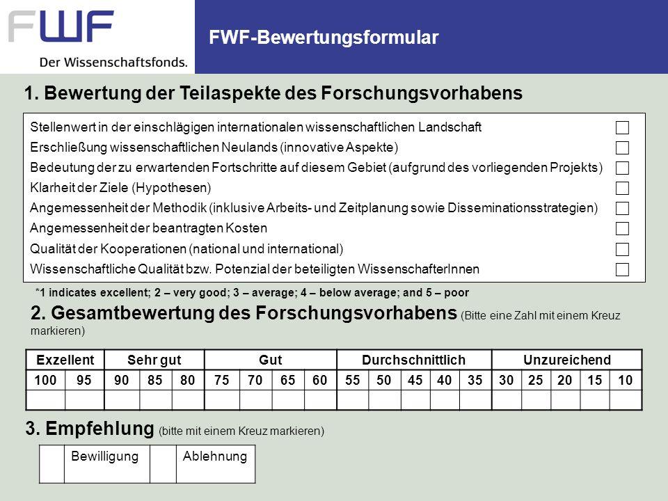 FWF-Bewertungsformular Stellenwert in der einschlägigen internationalen wissenschaftlichen Landschaft Erschließung wissenschaftlichen Neulands (innova