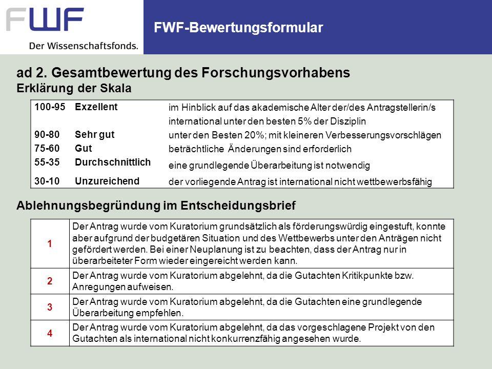 FWF-Bewertungsformular 1 Der Antrag wurde vom Kuratorium grundsätzlich als förderungswürdig eingestuft, konnte aber aufgrund der budgetären Situation