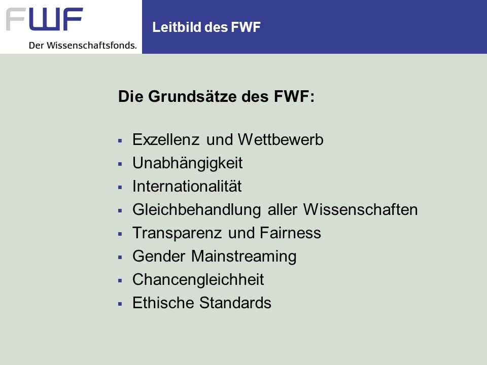 Die Grundsätze des FWF: Exzellenz und Wettbewerb Unabhängigkeit Internationalität Gleichbehandlung aller Wissenschaften Transparenz und Fairness Gende