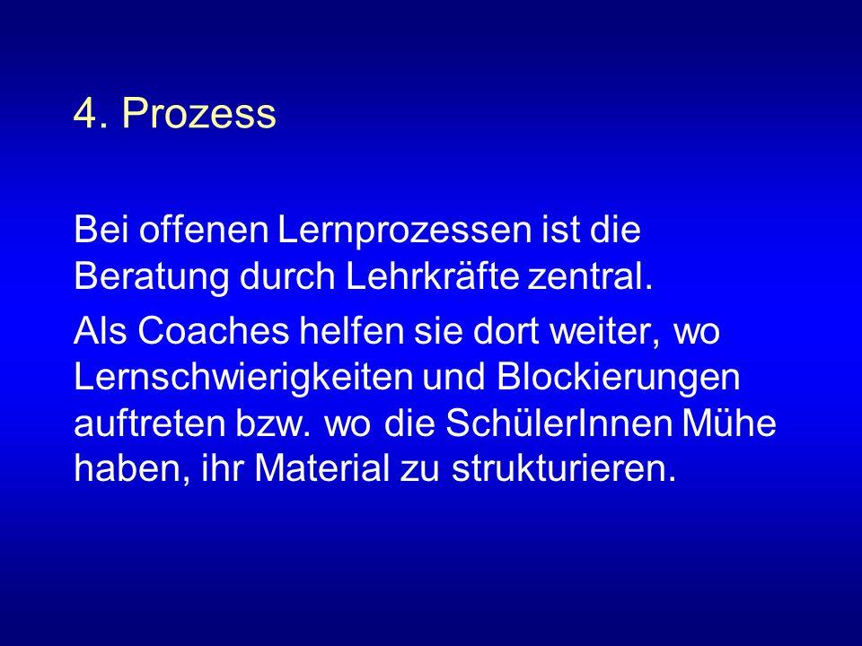 4. Prozess Bei offenen Lernprozessen ist die Beratung durch Lehrkräfte zentral. Als Coaches helfen sie dort weiter, wo Lernschwierigkeiten und Blockie