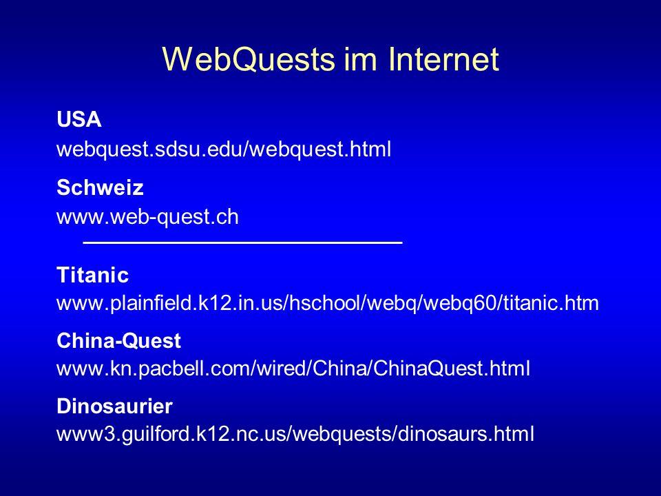 WebQuests im Internet USA webquest.sdsu.edu/webquest.html Schweiz www.web-quest.ch Titanic www.plainfield.k12.in.us/hschool/webq/webq60/titanic.htm China-Quest www.kn.pacbell.com/wired/China/ChinaQuest.html Dinosaurier www3.guilford.k12.nc.us/webquests/dinosaurs.html