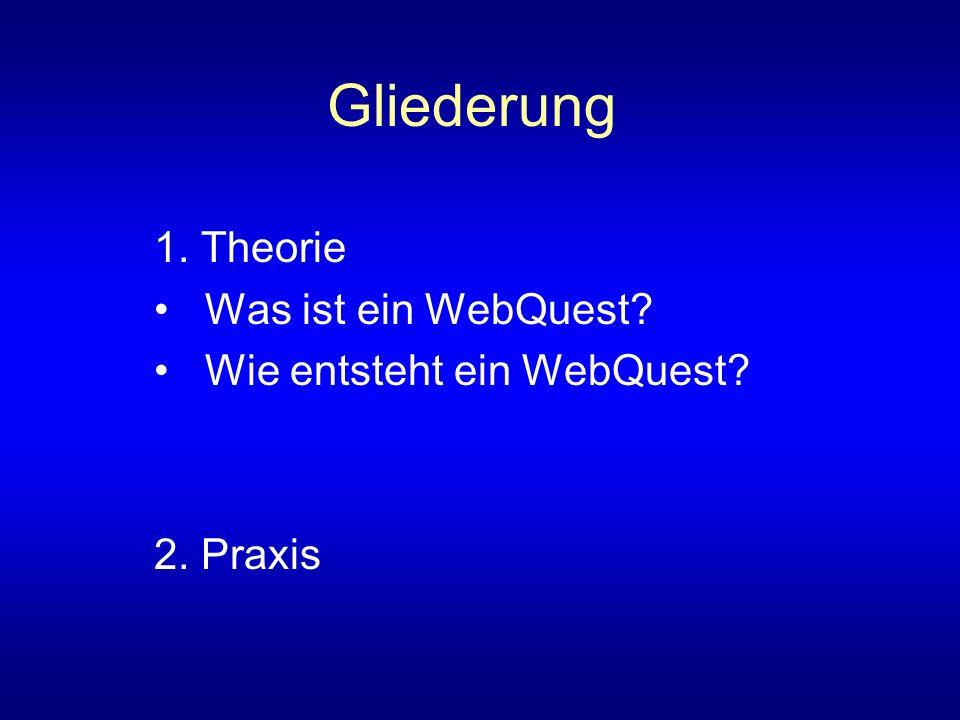 Gliederung 1. Theorie Was ist ein WebQuest? Wie entsteht ein WebQuest? 2. Praxis