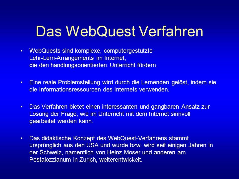 Das WebQuest Verfahren WebQuests sind komplexe, computergestützte Lehr-Lern-Arrangements im Internet, die den handlungsorientierten Unterricht fördern.