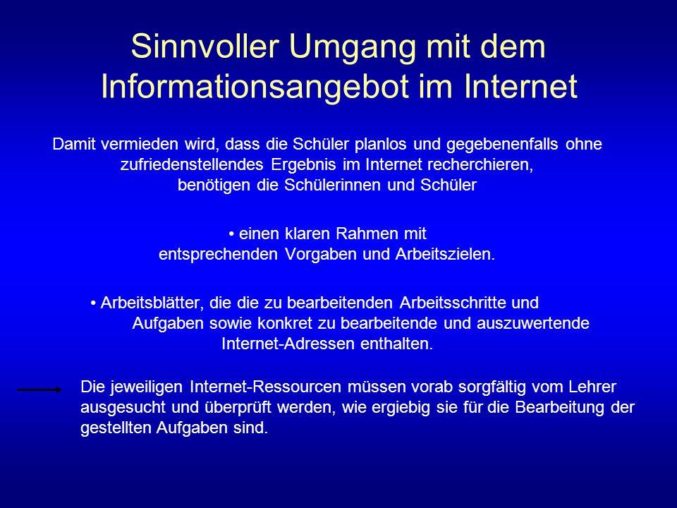 Sinnvoller Umgang mit dem Informationsangebot im Internet Damit vermieden wird, dass die Schüler planlos und gegebenenfalls ohne zufriedenstellendes E