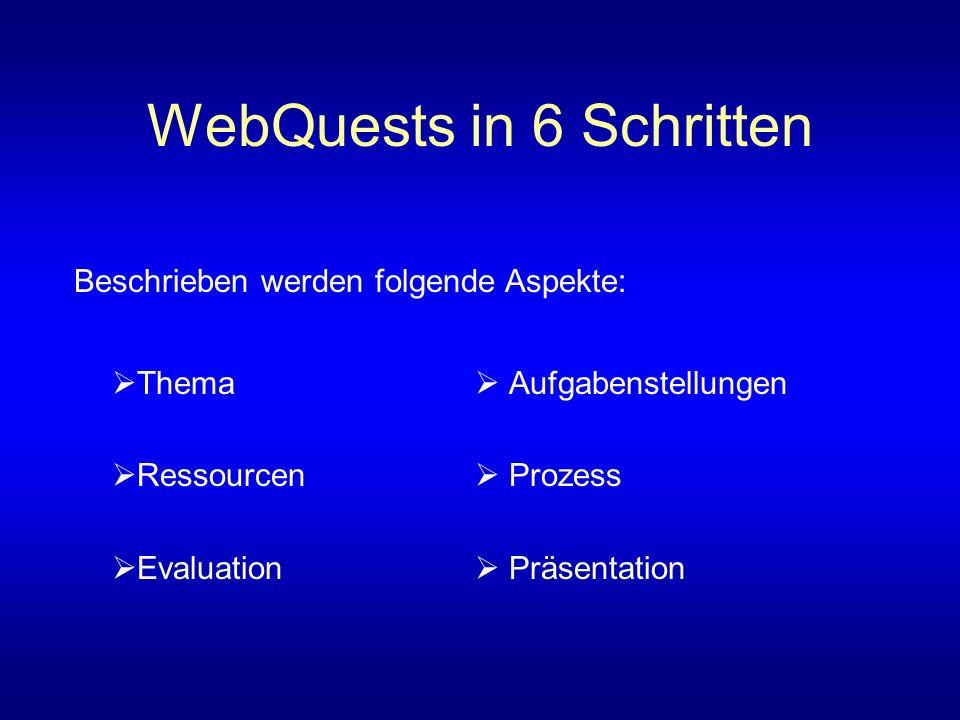 WebQuests in 6 Schritten Thema Aufgabenstellungen Ressourcen Prozess Evaluation Präsentation Beschrieben werden folgende Aspekte:
