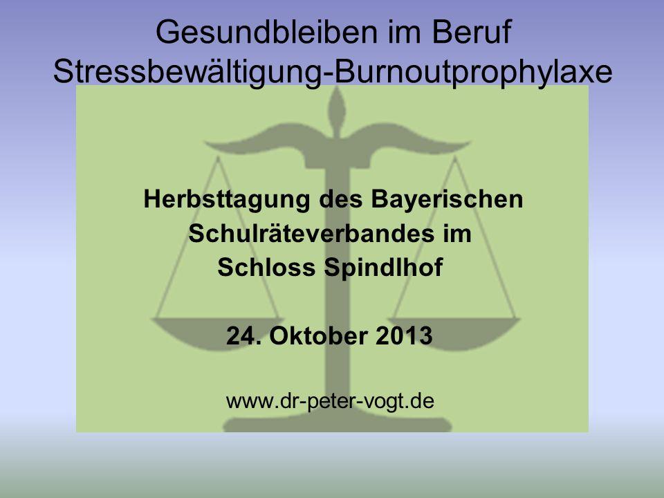 Gesundbleiben im Beruf Stressbewältigung-Burnoutprophylaxe Herbsttagung des Bayerischen Schulräteverbandes im Schloss Spindlhof 24.