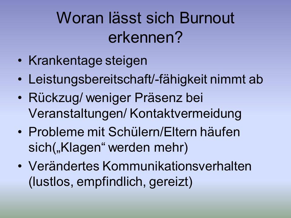 Woran lässt sich Burnout erkennen.
