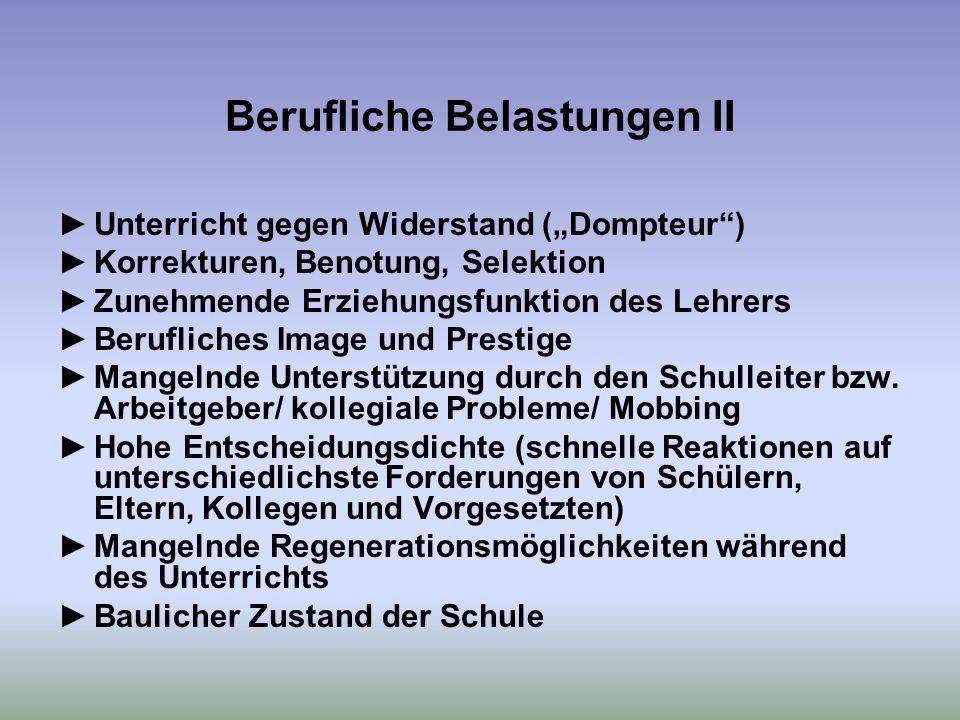 Berufliche Belastungen II Unterricht gegen Widerstand (Dompteur) Korrekturen, Benotung, Selektion Zunehmende Erziehungsfunktion des Lehrers Berufliches Image und Prestige Mangelnde Unterstützung durch den Schulleiter bzw.