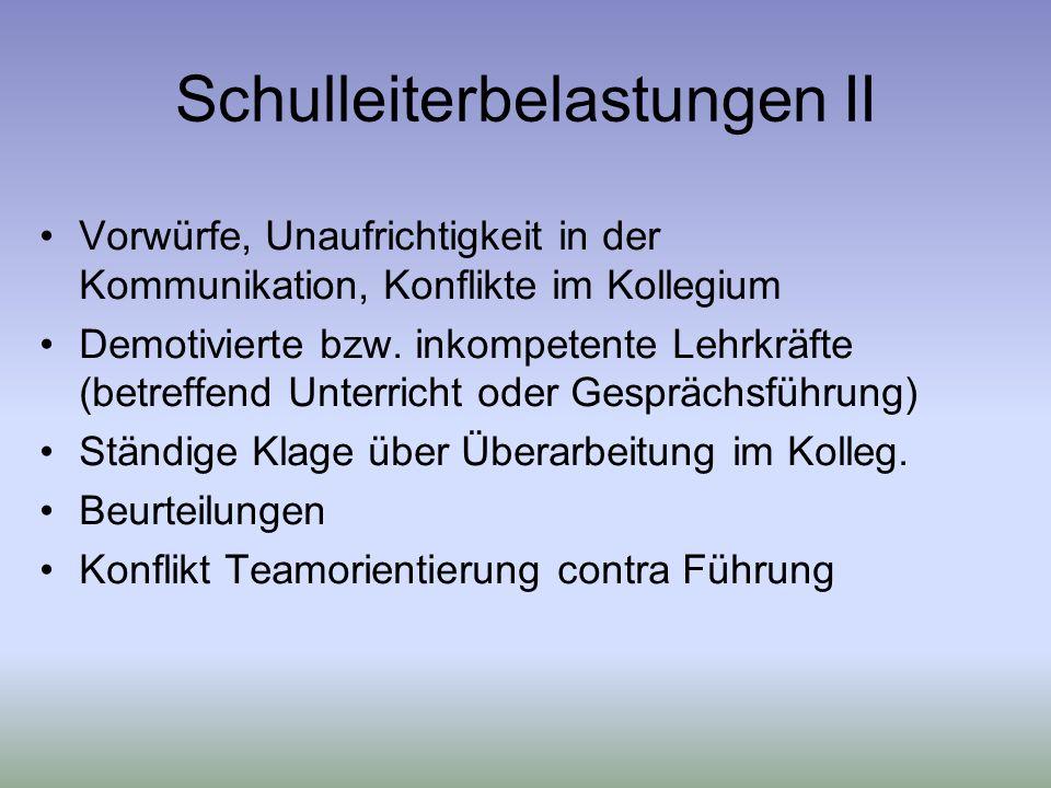 Schulleiterbelastungen II Vorwürfe, Unaufrichtigkeit in der Kommunikation, Konflikte im Kollegium Demotivierte bzw.