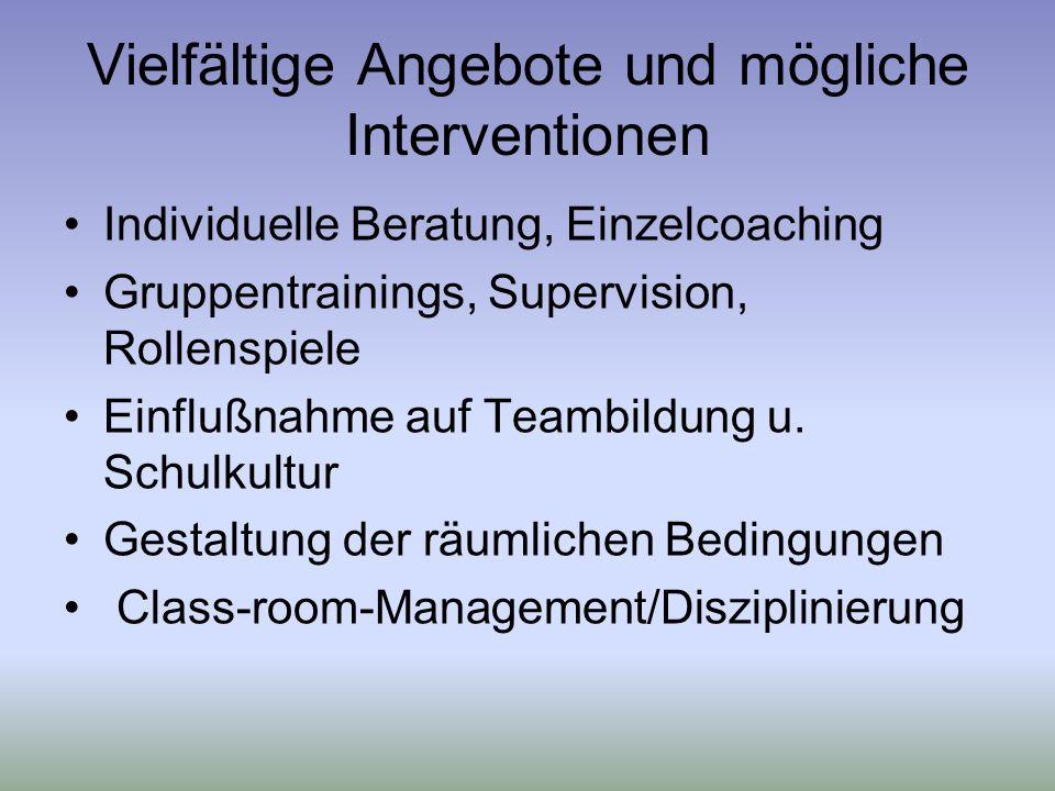 Vielfältige Angebote und mögliche Interventionen Individuelle Beratung, Einzelcoaching Gruppentrainings, Supervision, Rollenspiele Einflußnahme auf Teambildung u.