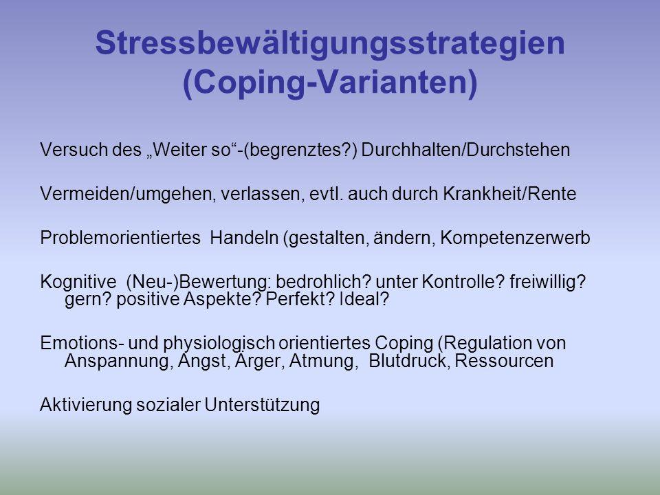 Stressbewältigungsstrategien (Coping-Varianten) Versuch des Weiter so-(begrenztes?) Durchhalten/Durchstehen Vermeiden/umgehen, verlassen, evtl.