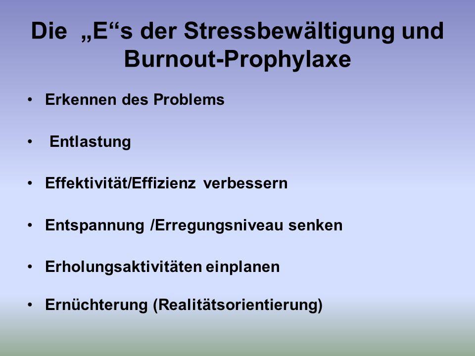 Die Es der Stressbewältigung und Burnout-Prophylaxe Erkennen des Problems Entlastung Effektivität/Effizienz verbessern Entspannung /Erregungsniveau senken Erholungsaktivitäten einplanen Ernüchterung (Realitätsorientierung)