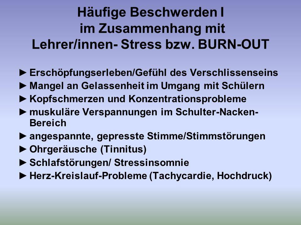 Häufige Beschwerden I im Zusammenhang mit Lehrer/innen- Stress bzw.
