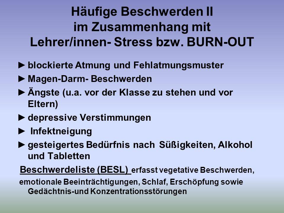 Häufige Beschwerden II im Zusammenhang mit Lehrer/innen- Stress bzw.