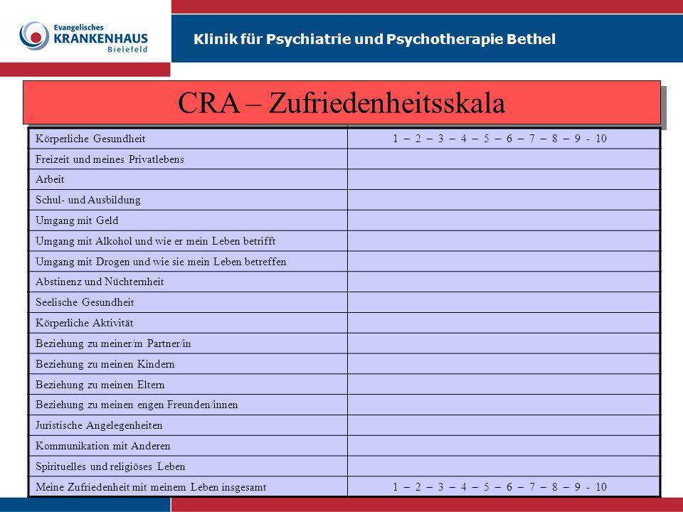 Klinik für Psychiatrie und Psychotherapie Bethel CRA – Bedingungsanalyse des Konsumverhaltens Äußere Trigger (Mit wem, Wo, Wann) Innere Trigger (Denken, Empfinden, Fühlen) Verhalten (Was, Wieviel, Wie lange) Kurzfristige positive Konsequenzen Langfristige negative Konsequenzen (zwischenmenschliche, körperliche, emotionale, juristische, arbeitsbezogene, finanzielle, andere) Äußere Trigger (Mit wem, Wo, Wann) Innere Trigger (Denken, Empfinden, Fühlen) Verhalten (Was, Wieviel, Wie lange) Kurzfristige positive Konsequenzen Langfristige negative Konsequenzen (zwischenmenschliche, körperliche, emotionale, juristische, arbeitsbezogene, finanzielle, andere)