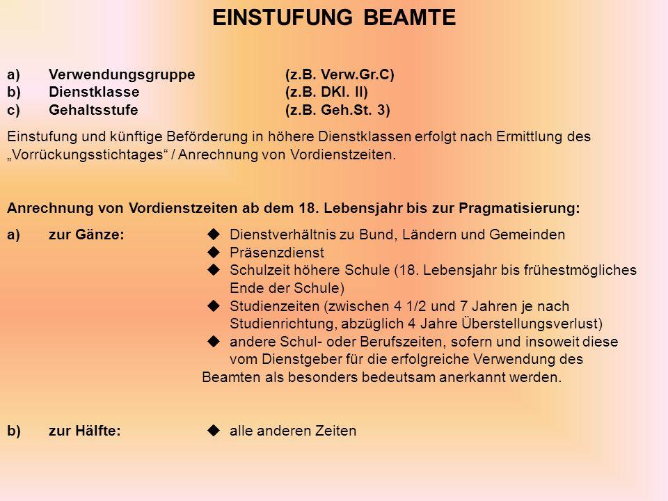 EINSTUFUNG BEAMTE a)Verwendungsgruppe(z.B.Verw.Gr.C) b)Dienstklasse(z.B.