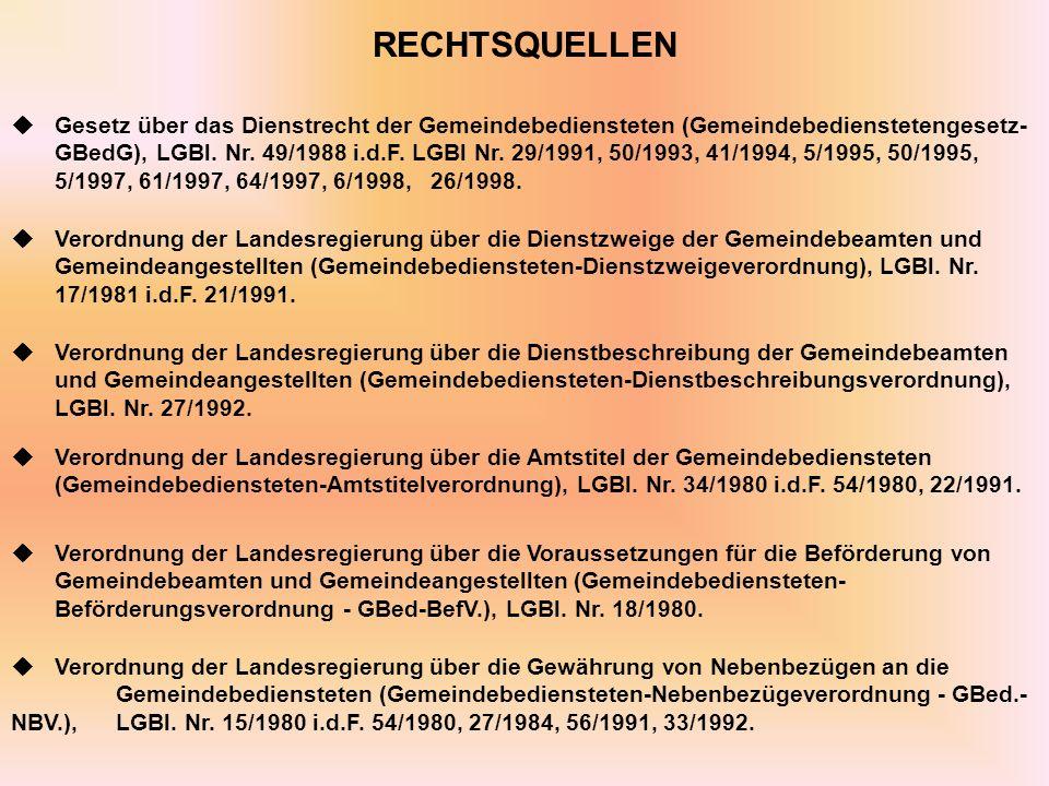 RECHTSQUELLEN Gesetz über das Dienstrecht der Gemeindebediensteten (Gemeindebedienstetengesetz- GBedG), LGBl.