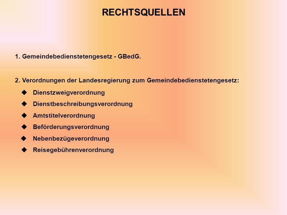 RECHTSQUELLEN 1.Gemeindebedienstetengesetz - GBedG.