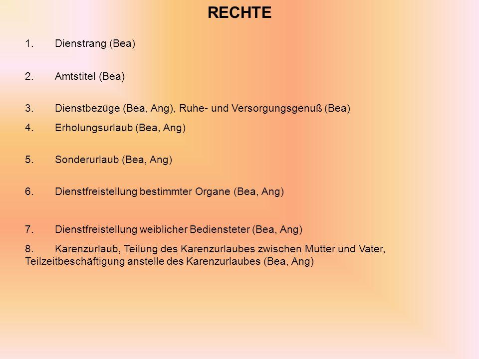 RECHTE 1.Dienstrang (Bea) 2.Amtstitel (Bea) 3.Dienstbezüge (Bea, Ang), Ruhe- und Versorgungsgenuß (Bea) 4.Erholungsurlaub (Bea, Ang) 5.