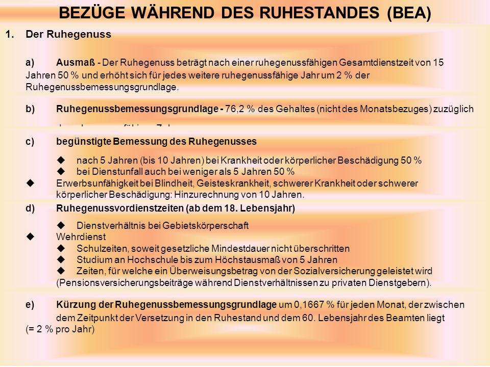 BEZÜGE WÄHREND DES RUHESTANDES (BEA) 1.