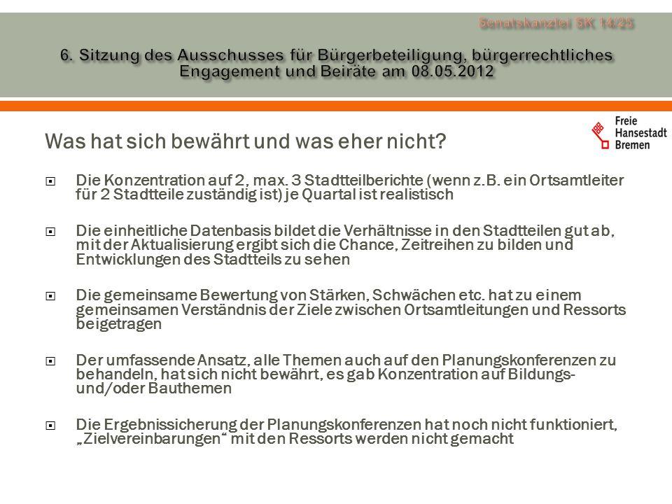 Zukünftiges Verfahren der Aktualisierung der Stadtteilberichte Der Rhythmus der Bearbeitung von 2, max.
