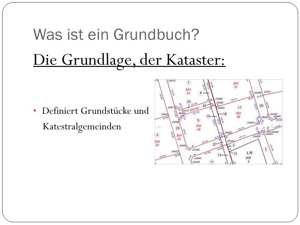 Was ist ein Grundbuch? Die Grundlage, der Kataster: Definiert Grundstücke und Katestralgemeinden