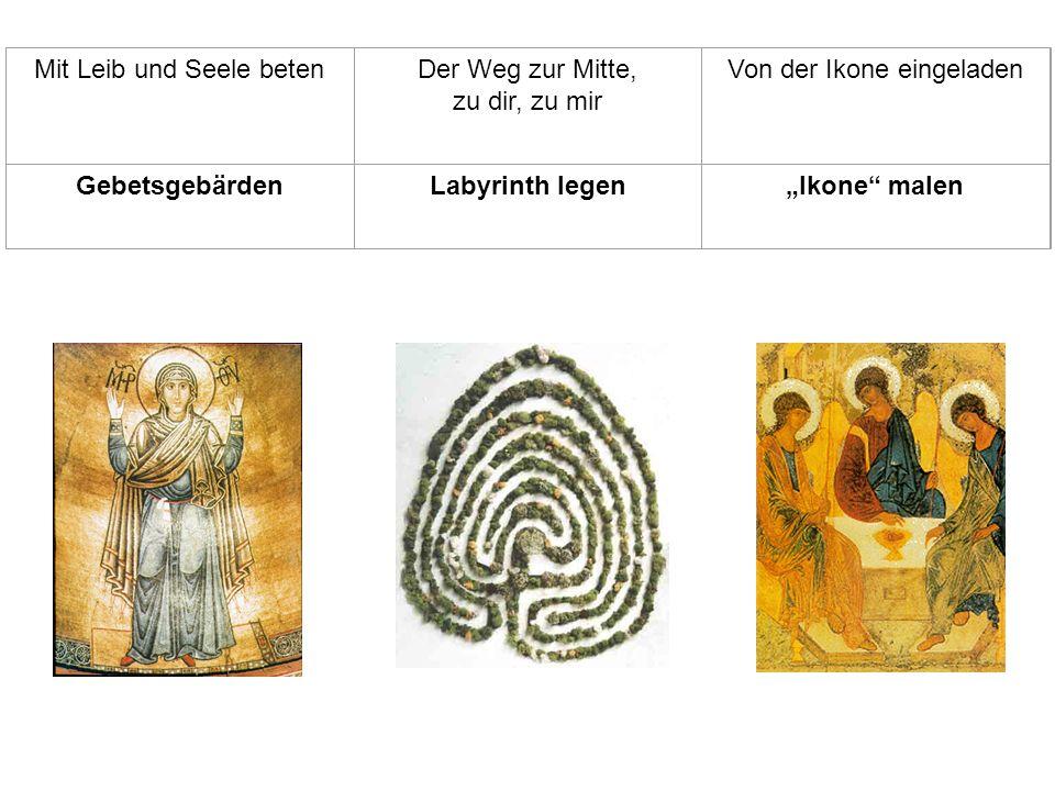 Mit Leib und Seele betenDer Weg zur Mitte, zu dir, zu mir Von der Ikone eingeladen GebetsgebärdenLabyrinth legenIkone malen