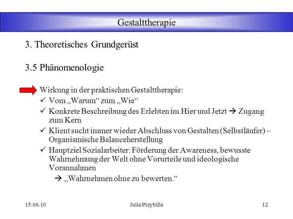 15.06.10Julia Przybilla11 Gestalttherapie 3.5 Phänomenologie Fundiert auf Husserl entwickelt um Jahrhundertwende 1800/1900 Petzhold, Hilarion Existent
