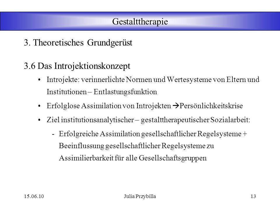 15.06.10Julia Przybilla12 Gestalttherapie 3.5 Phänomenologie Wirkung in der praktischen Gestalttherapie: Vom Warum zum Wie Konkrete Beschreibung des E